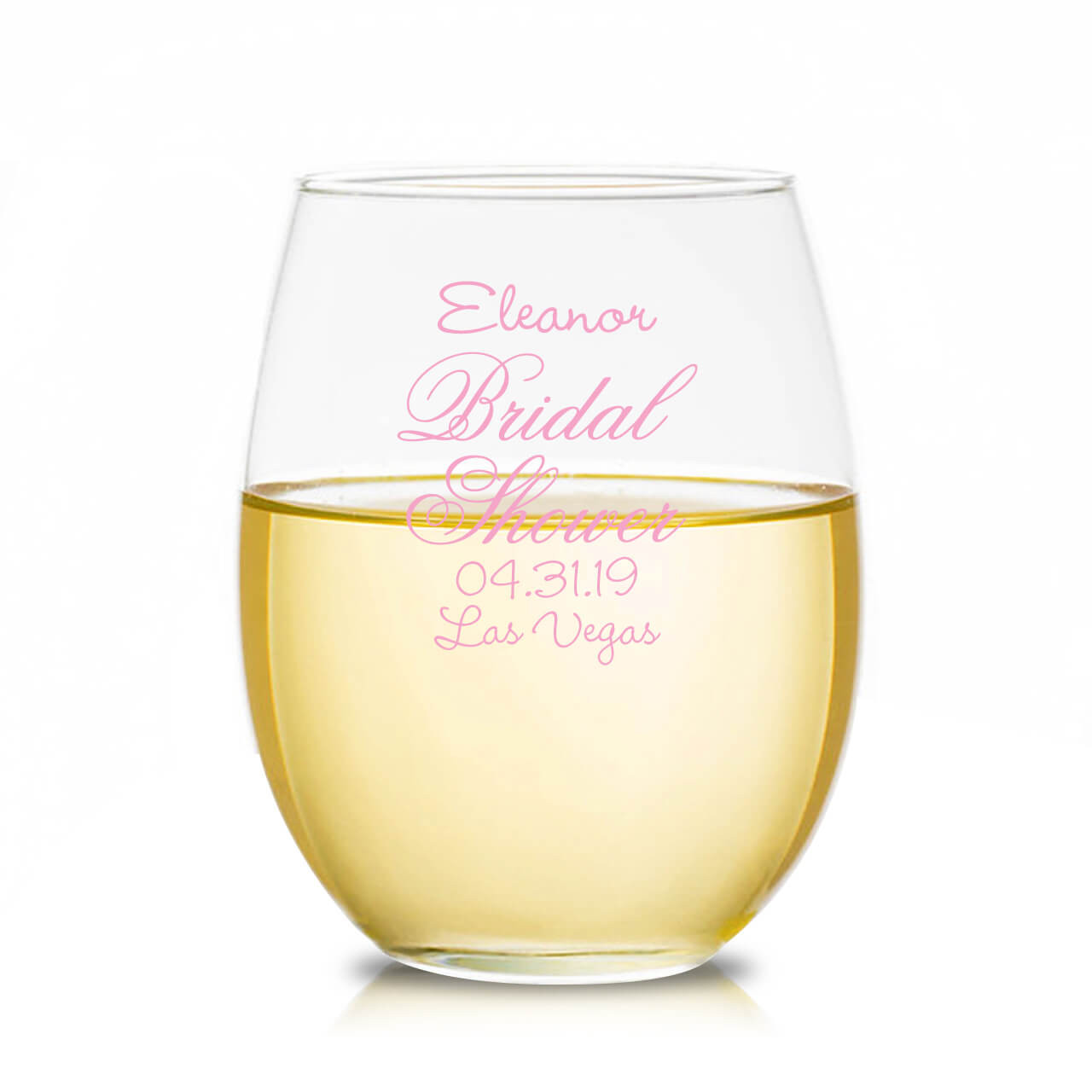 9ed4dec7496 Bridal Shower Personalized Stemless Wine Glass - Favors & Flowers
