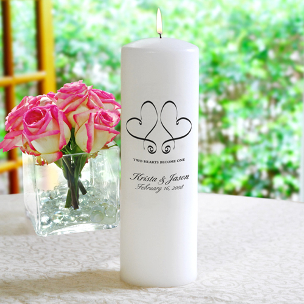 Two Hearts Personalized Unity Candle