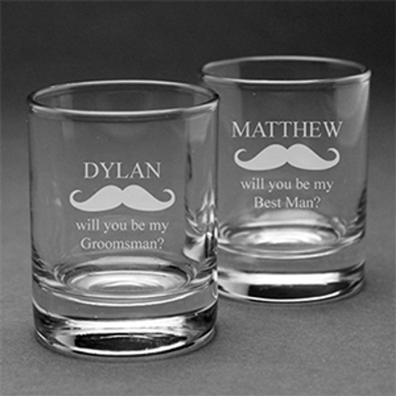 Mustache Engraved Shot Glass Set Of 2