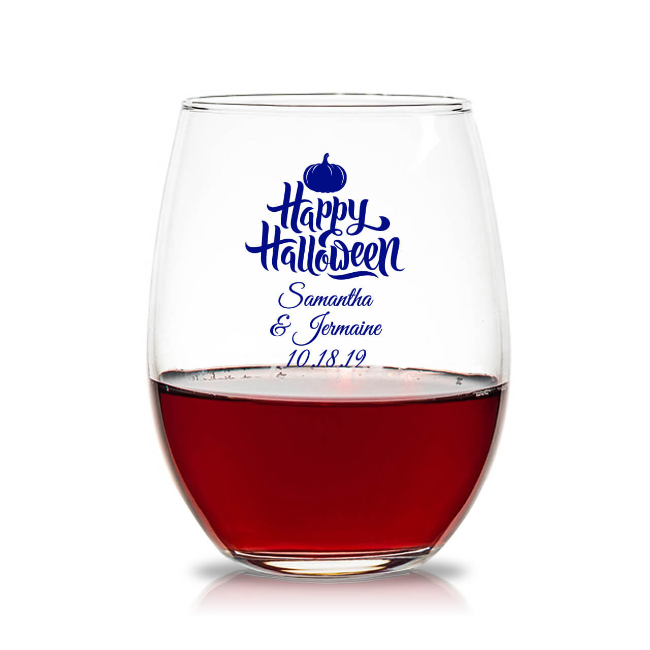 8cd732e957a Happy Halloween Personalized 15oz Stemless Wine Glass - Favors & Flowers
