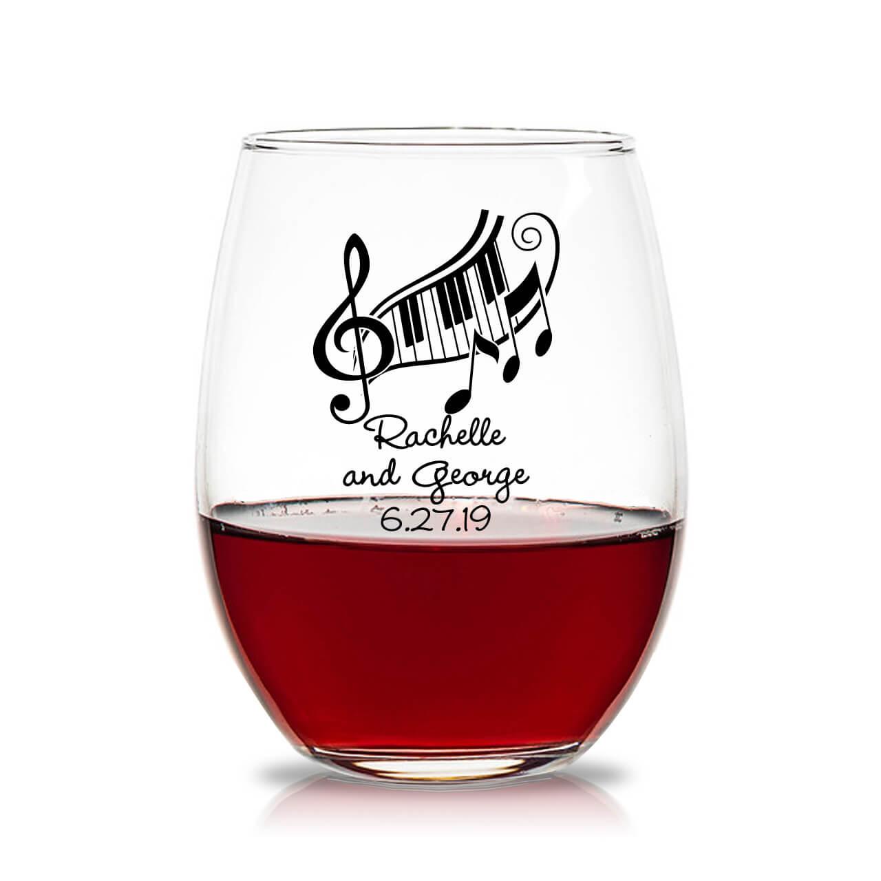 e64e448c703 Fun Music Personalized 15 oz Stemless Wine Glass Favors - Favors ...