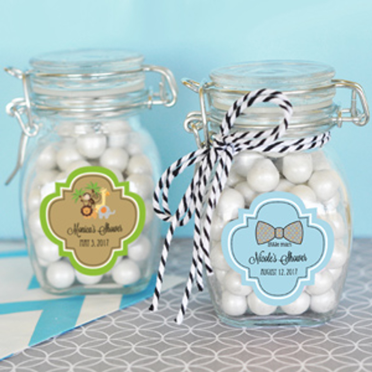Personalized Baby Shower Glass Jar Favors Flowers
