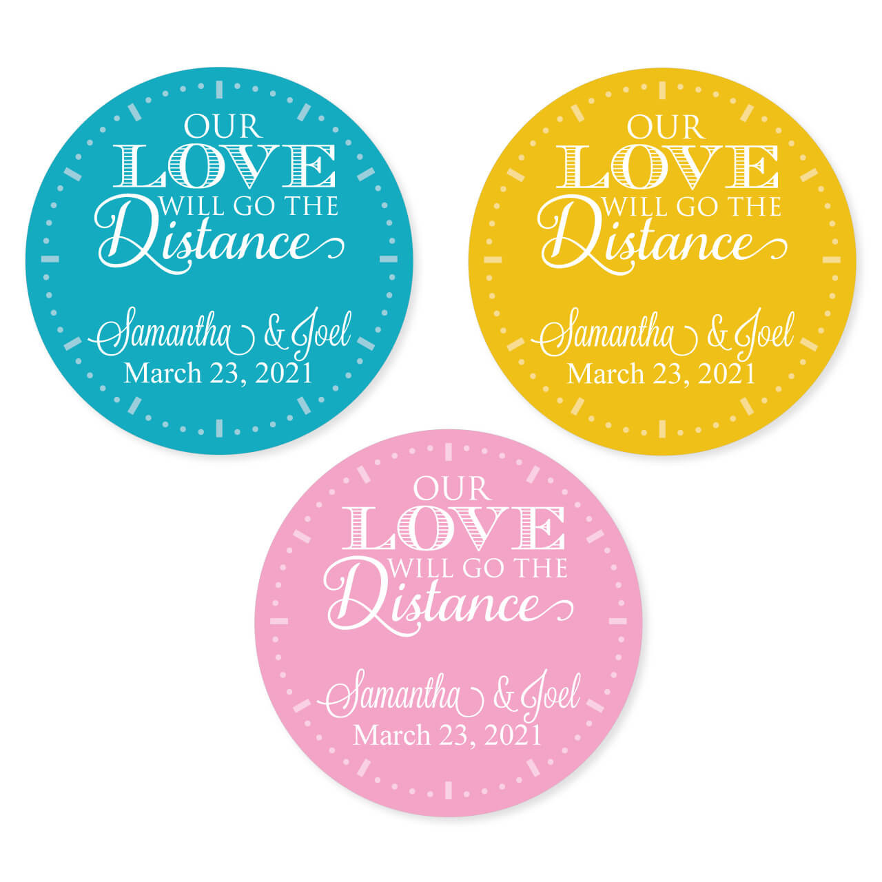 Our love will go the distance personalized round stickers set of 20