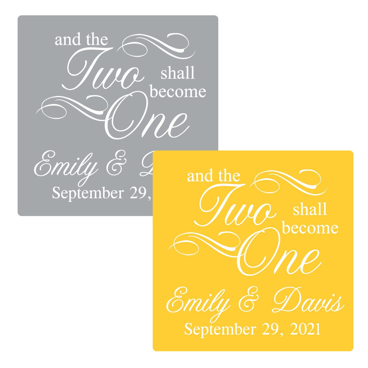 And the two shall become one personalized square stickers