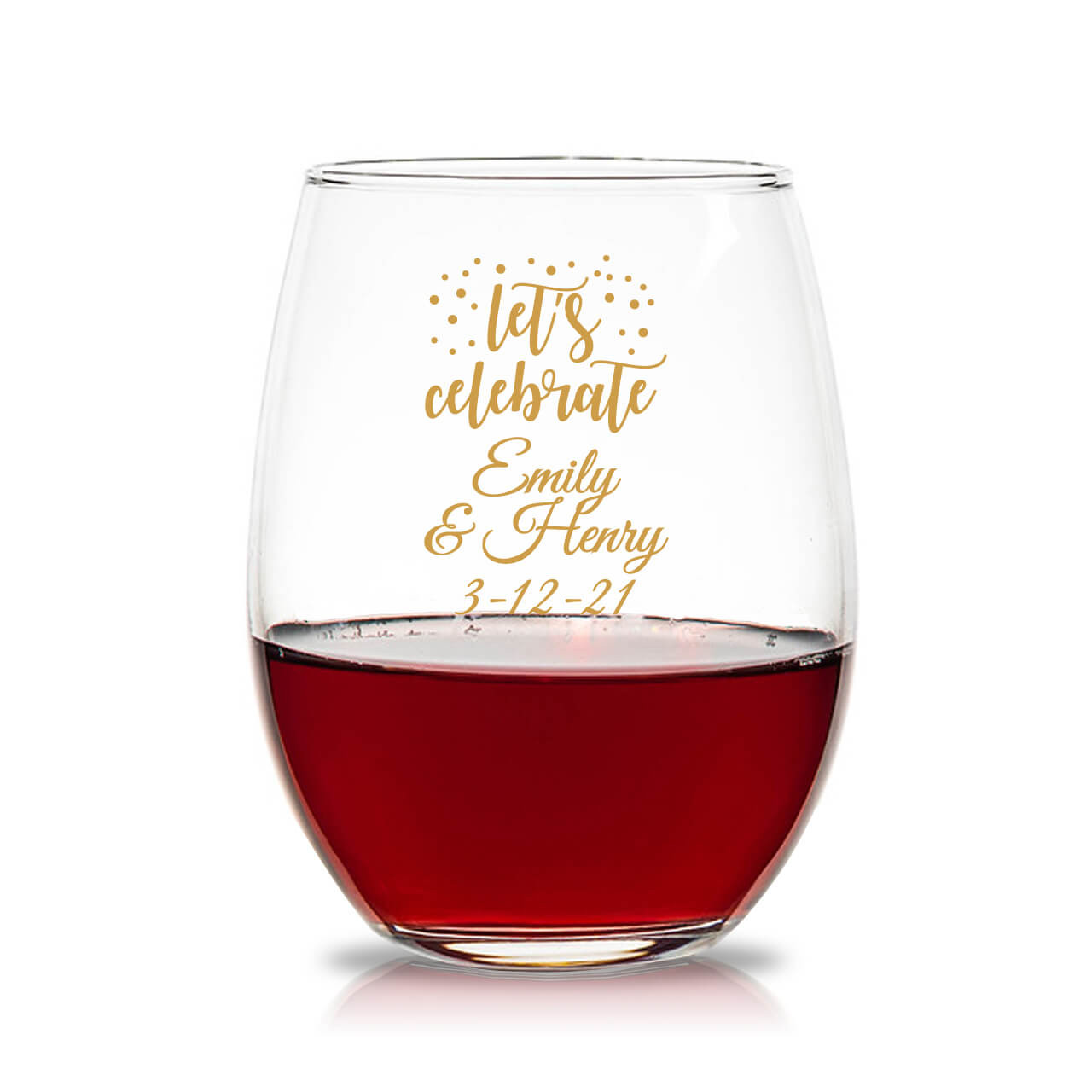 fbf26092f0f Party Time Lets Celebrate Personalized 15 oz. Stemless Wine Glass
