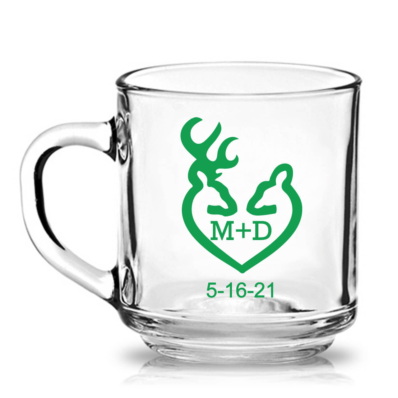 3b5e70f6e42 Buck and Doe Rustic Theme Personalized 10 oz Clear Glass Mug Favors ...