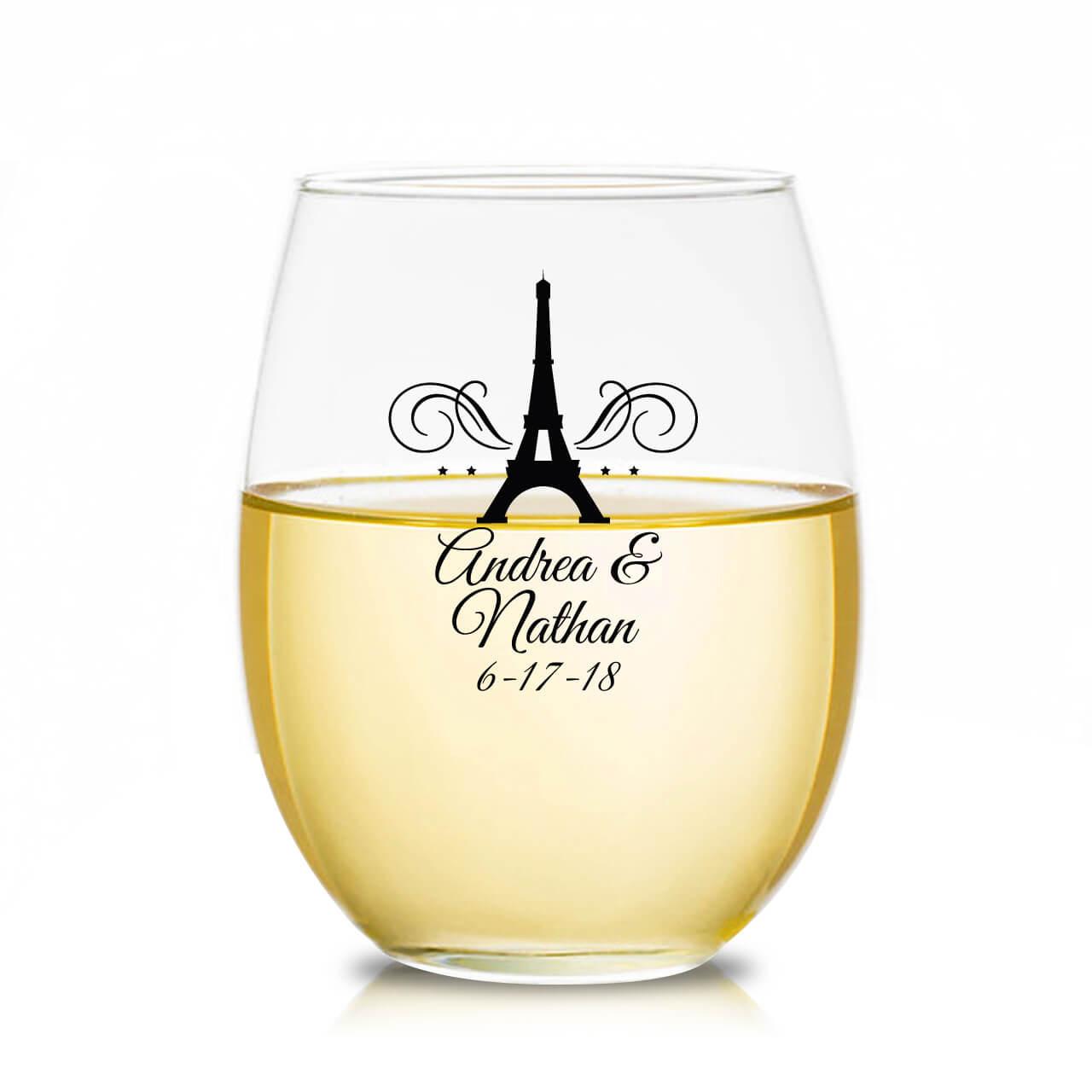 6c582ae297c Eiffel Tower Paris Personalized Stemless Wine Glass Favors - Favors ...