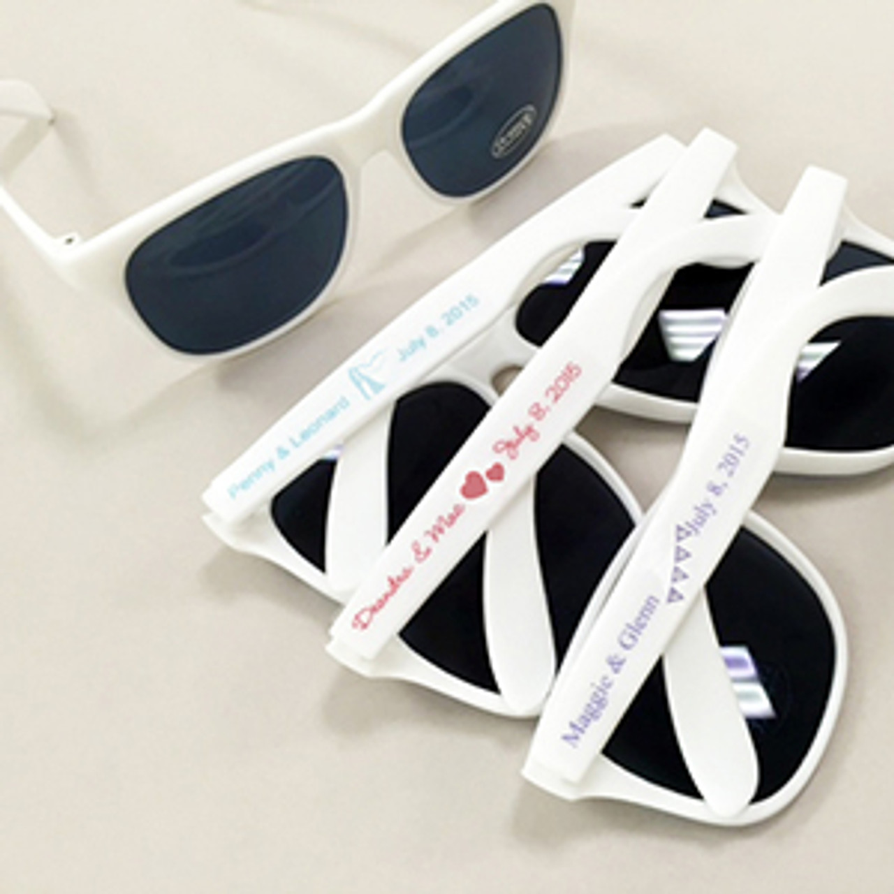 White Sunglasses With Personalized Labels