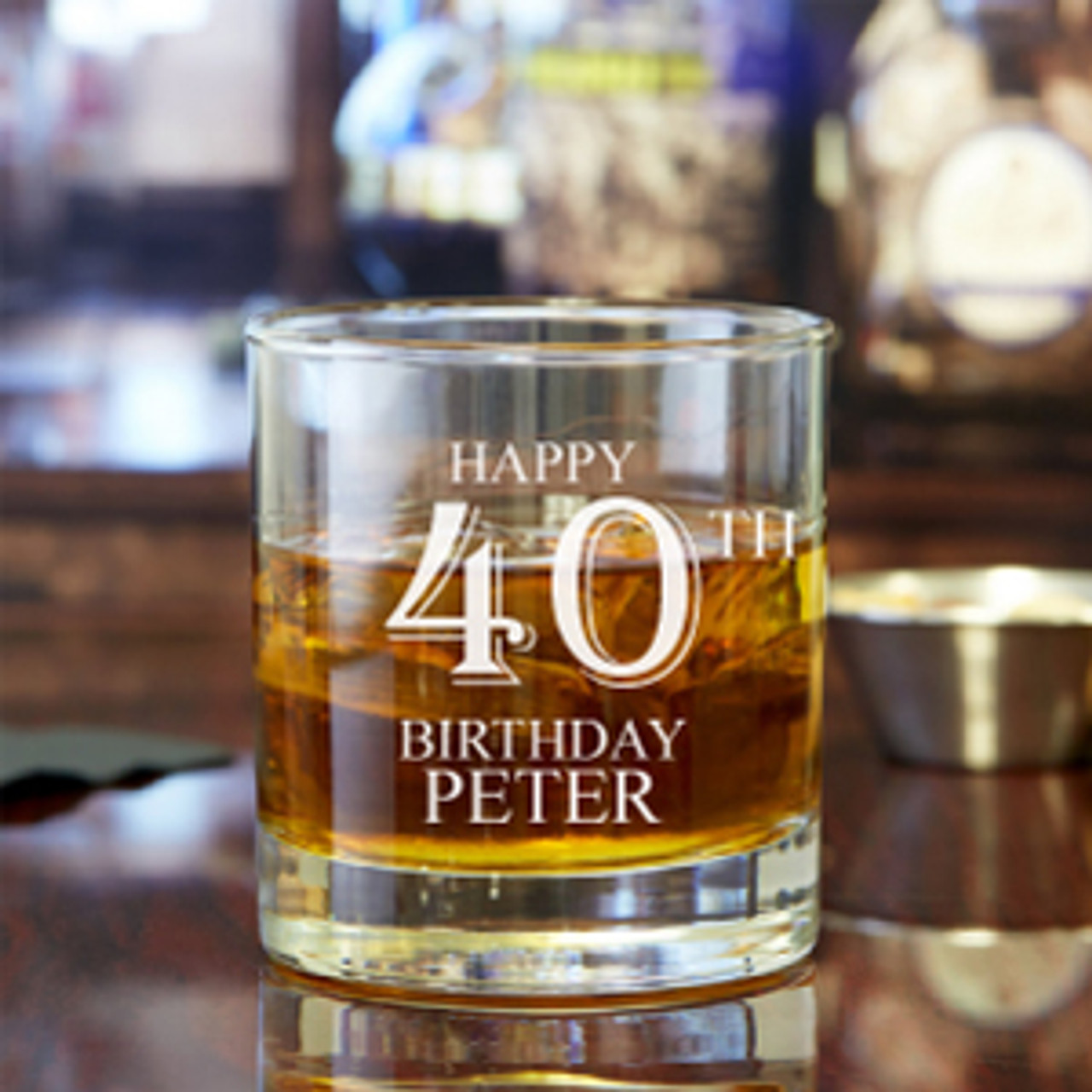 Happy Birthday Personalized 10 Oz Rock Glass Favors Flowers