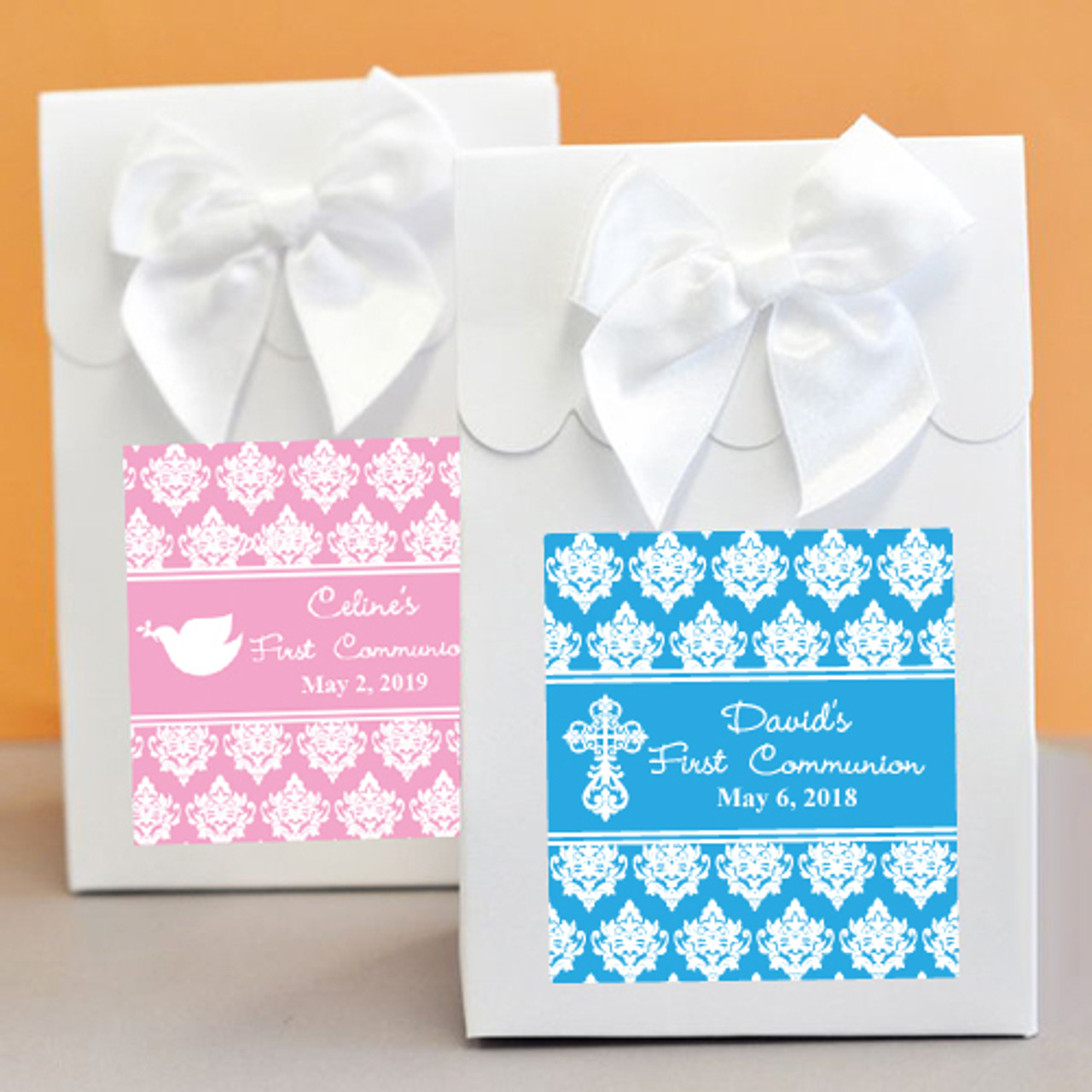 Damask First Communion Personalized Candy Bags - 12 pieces