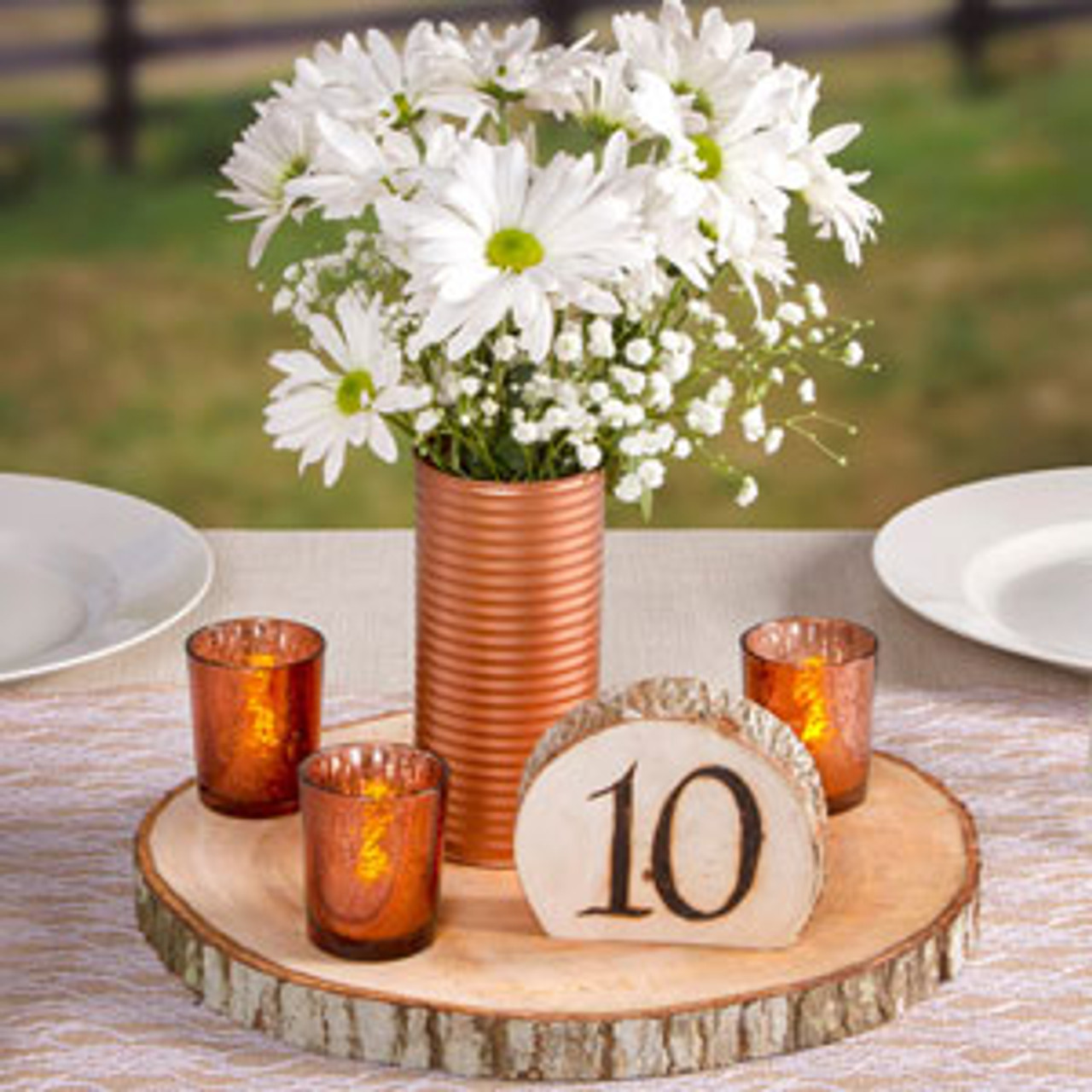Wood Slice Chargers: Rustic Wood Slice Charger For Centerpieces
