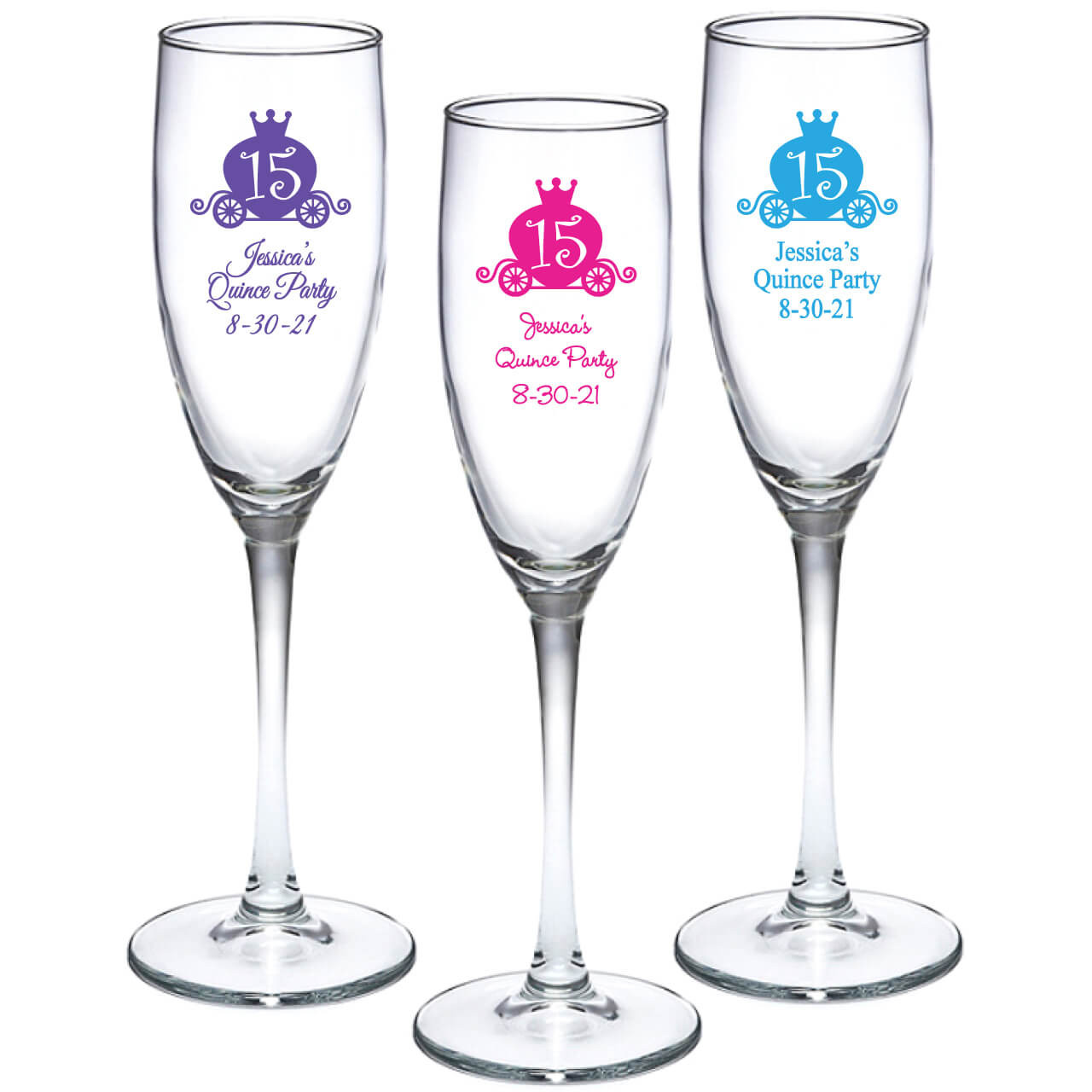 Quinceanera Personalized Champagne Flutes
