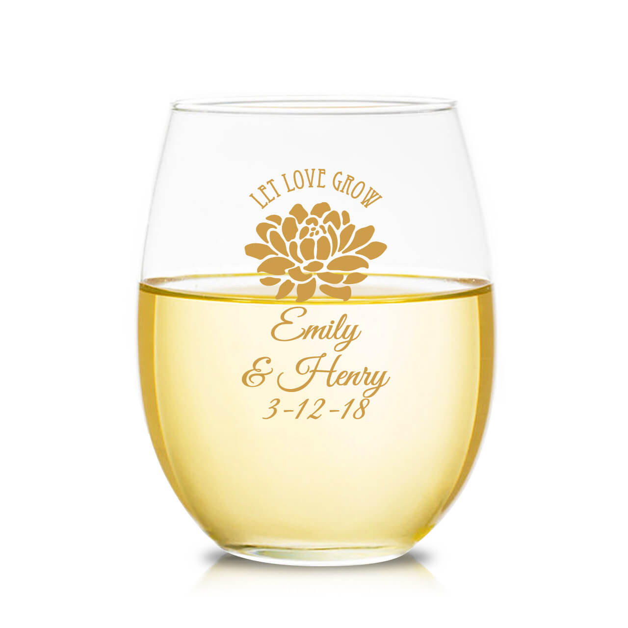 4cfe0f0c69a Succulent Let Love Grow Personalized 9 oz Stemless Wine Glass