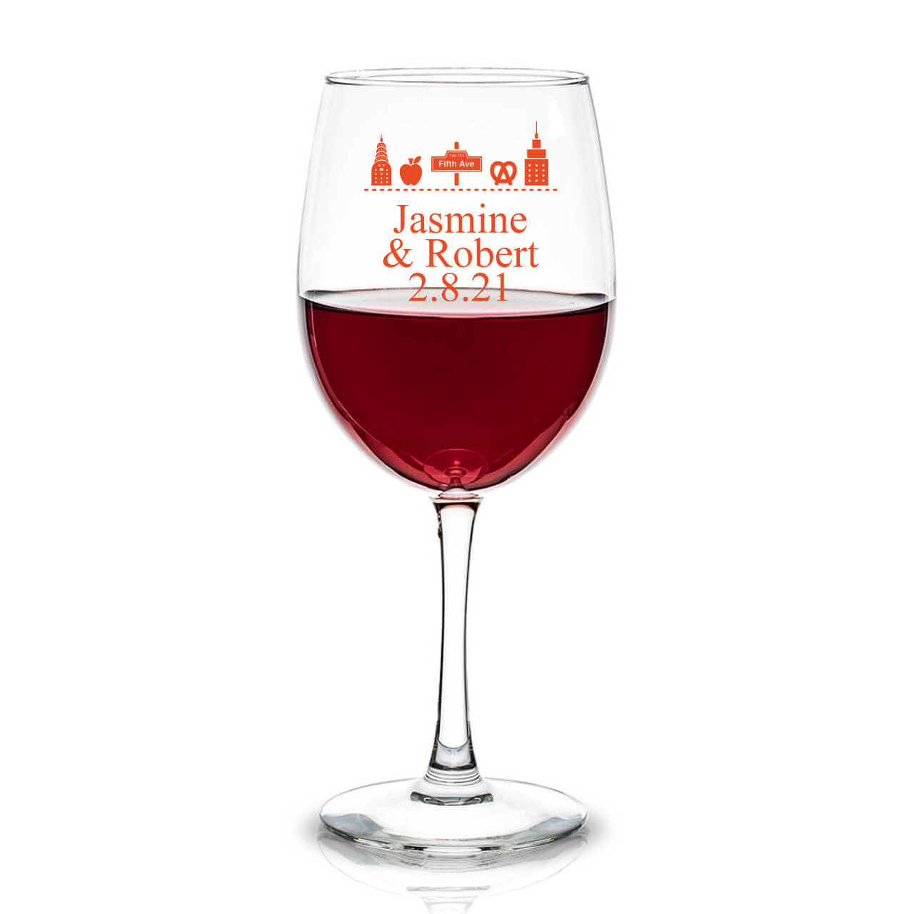 e45ea9b40a1 New York Icons Personalized 12 oz Wine Glass