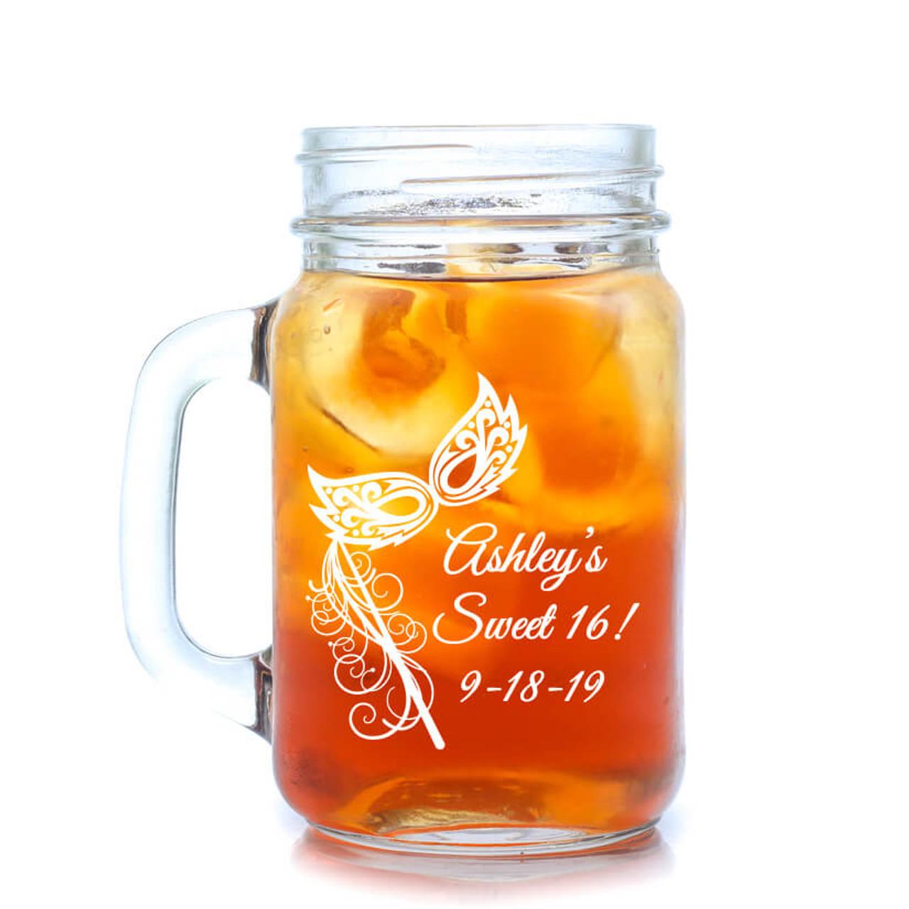 Masquerade Personalized Mason Jar Drinking Glass