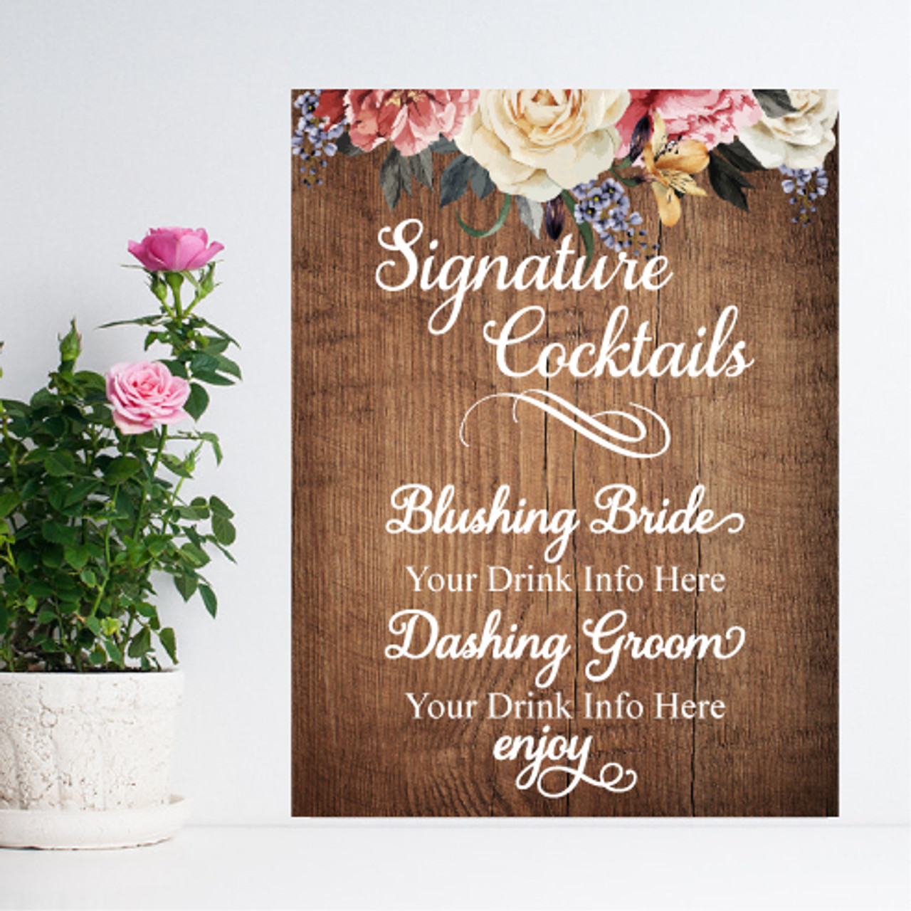 Wedding Signature Drinks.Signature Cocktails Garden Wedding Personalized Sign