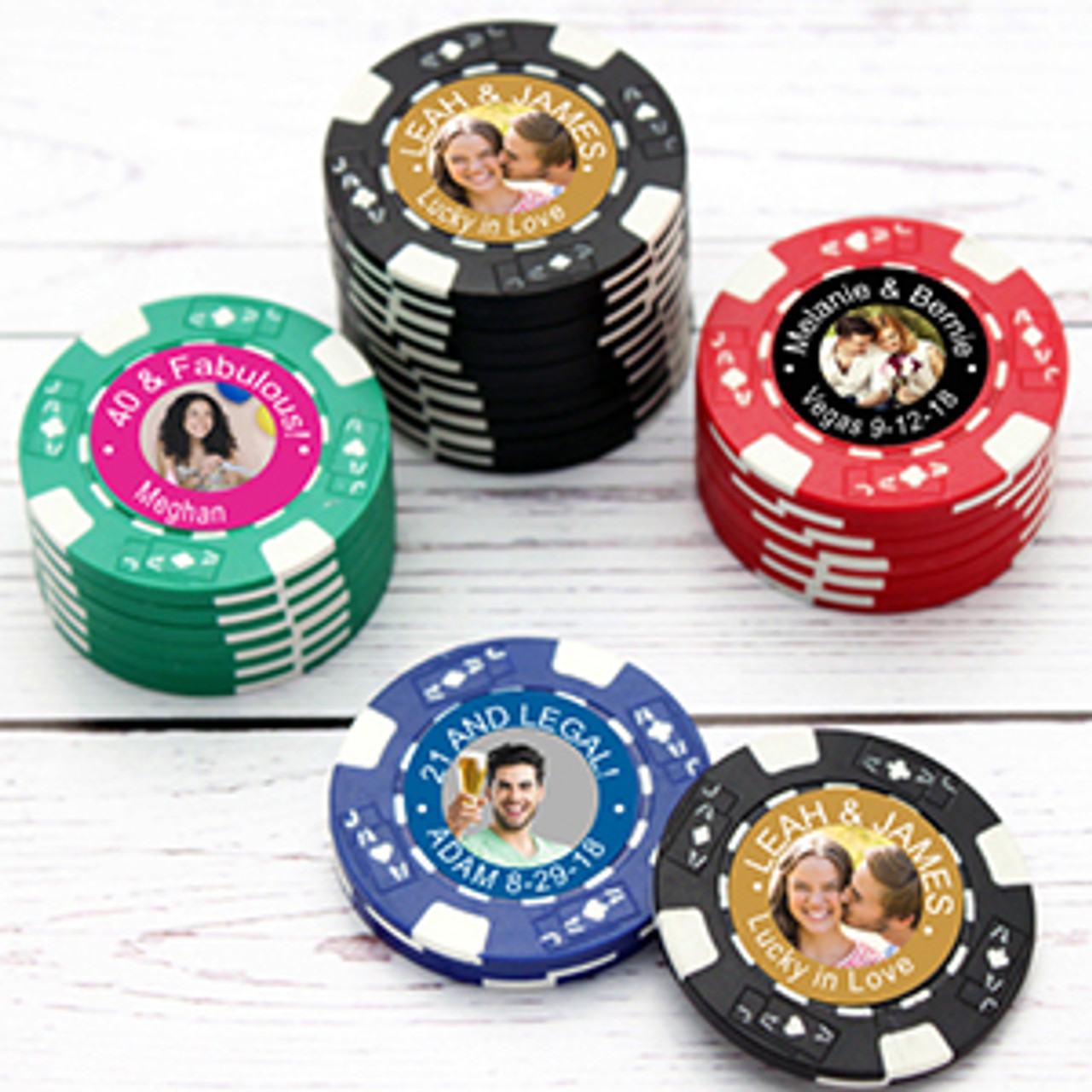 25 Custom Unique Wedding Poker Chip Favors