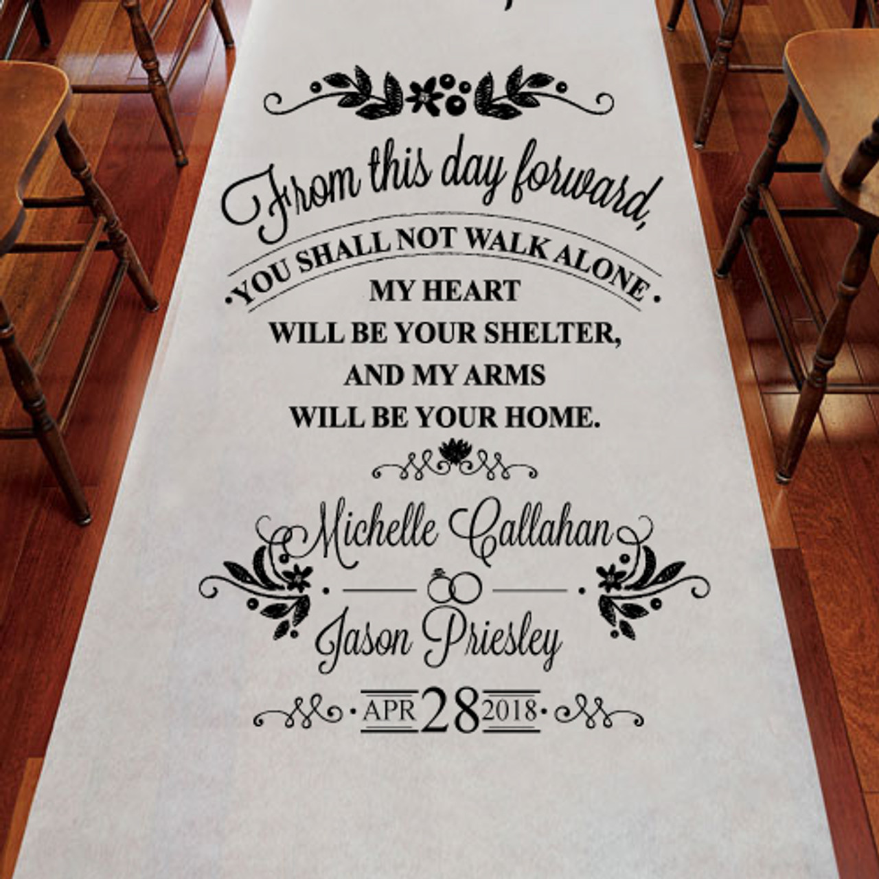 From This Day Forward Personalized Wedding Aisle Runner Favors Flowers