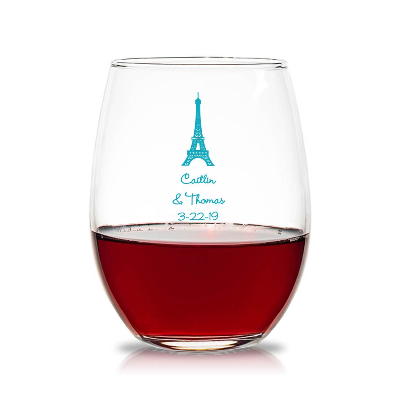 29919071919 Paris Personalized 15 oz Stemless Wine Glass - Favors & Flowers