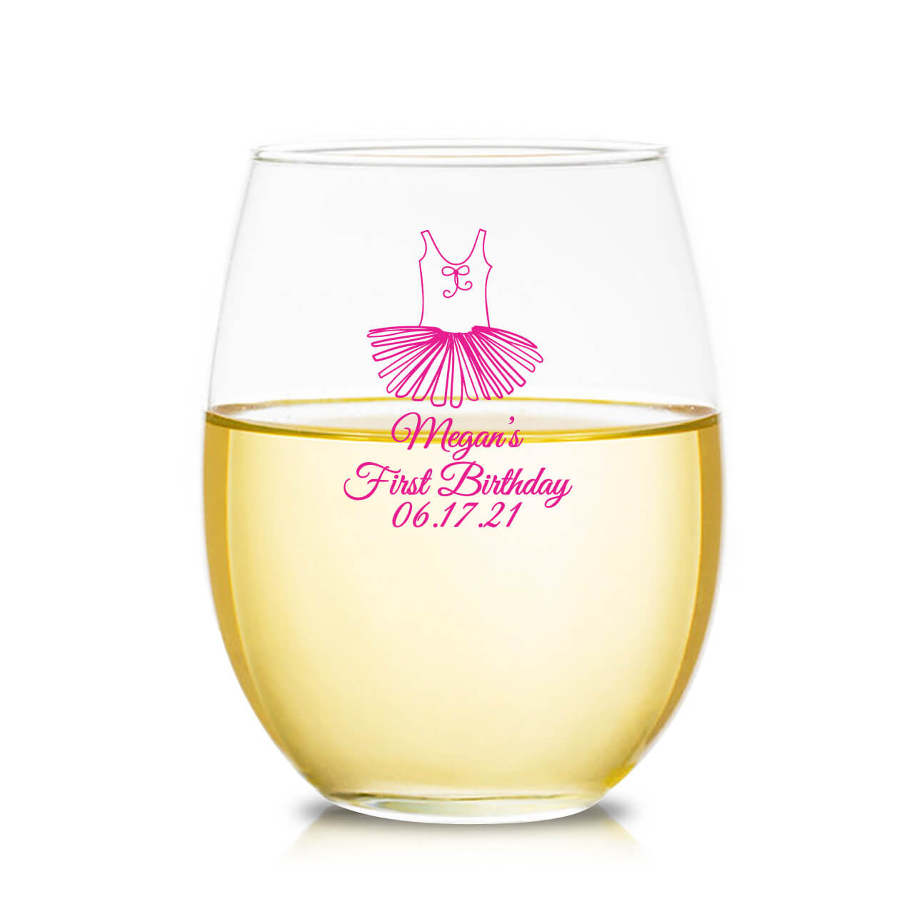 82a6b424702e Personalized 9 oz. Stemless Wine Glass - Tutu - Favors & Flowers