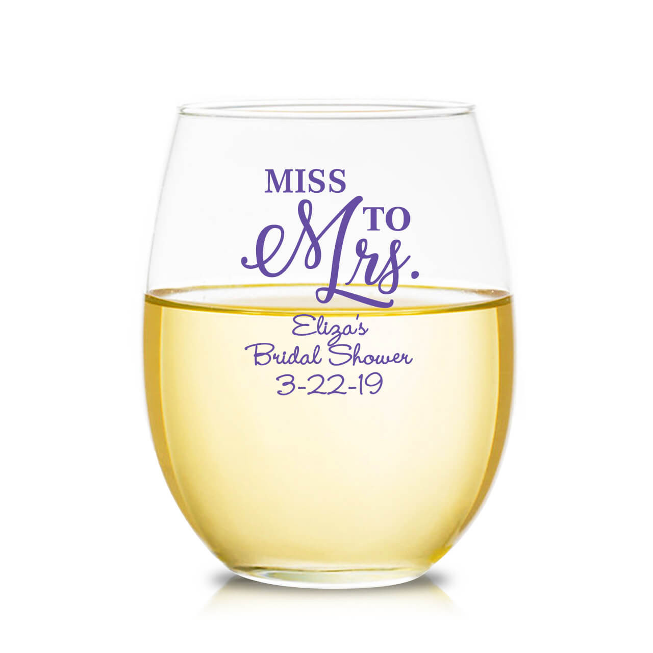 Miss to mrs personalized 9 oz stemless wine glass favors flowers