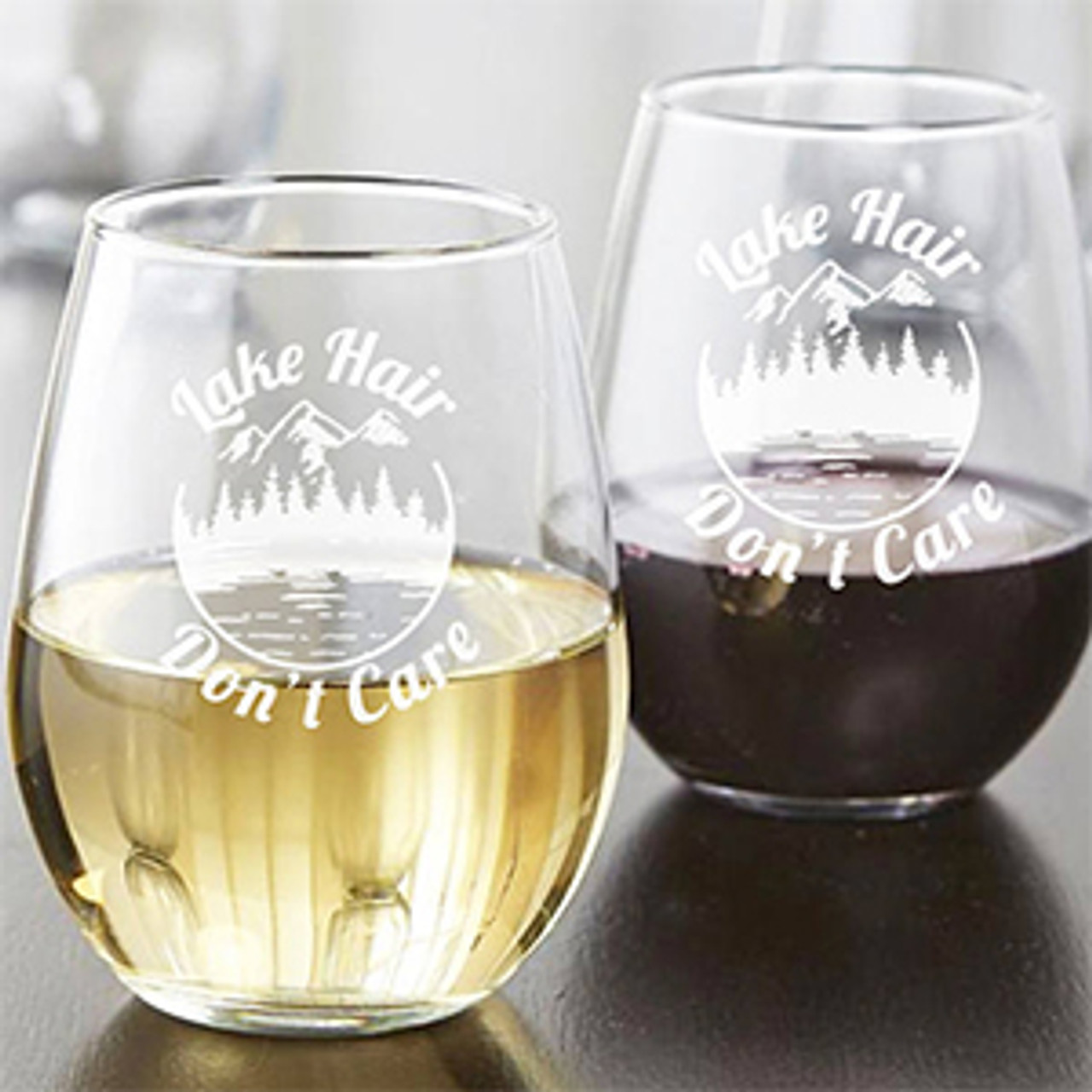 Lake Life wine glass Lake Hair Don/'t Care 21 oz