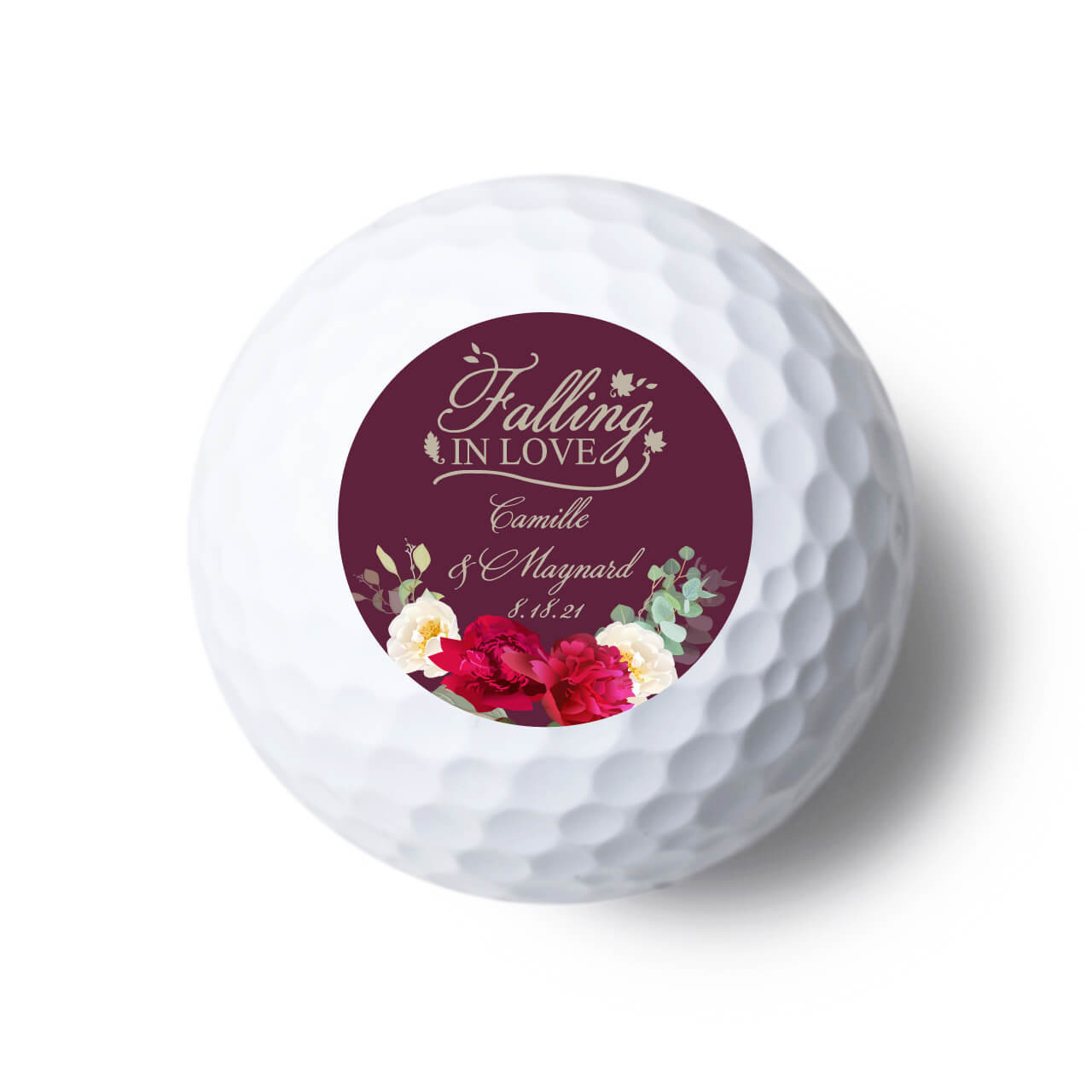 Falling In Love Personalized Golf Ball Favors Flowers