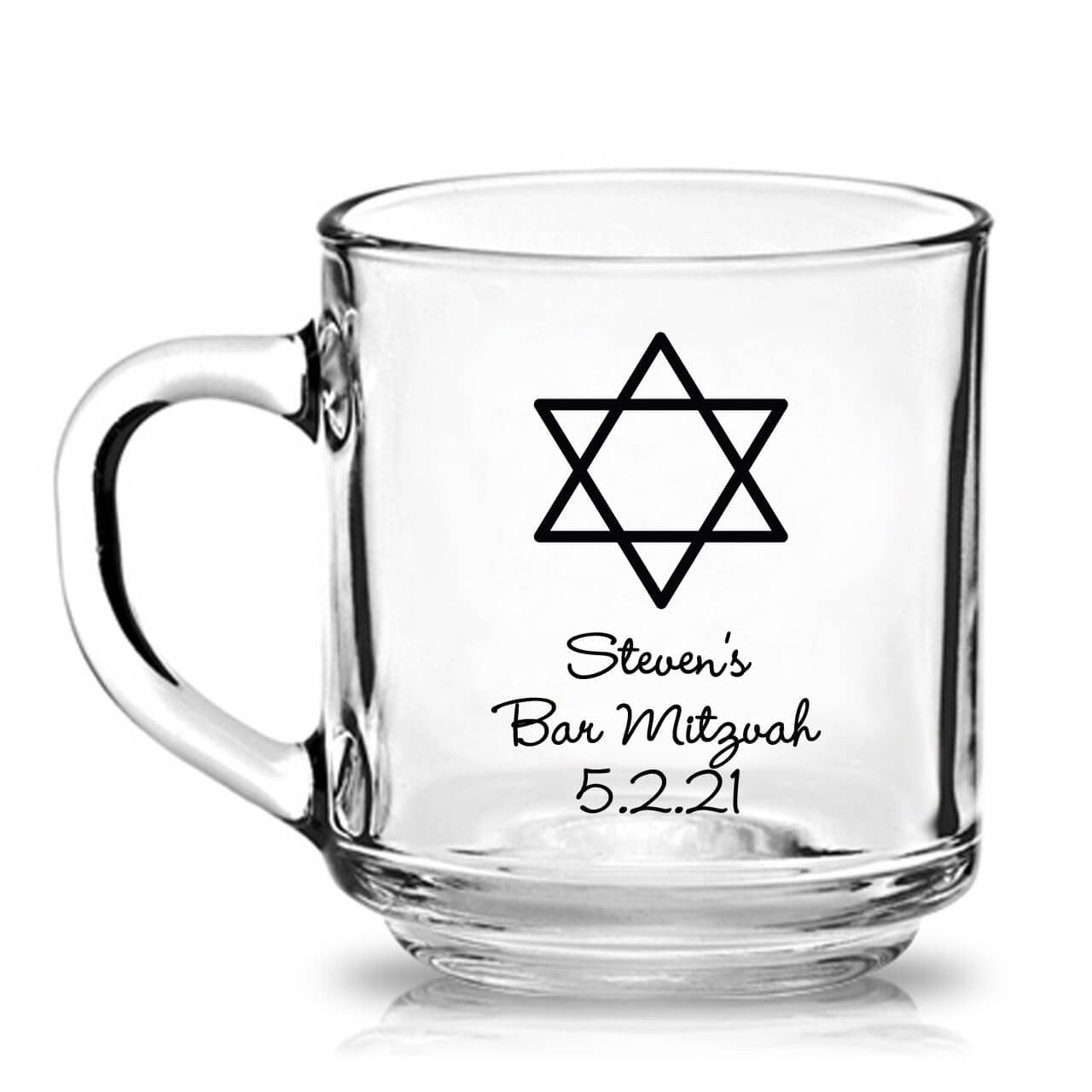 Mitzvah Clear Favors Bar Oz Glass Personalized 10 Mug SqUzMjLVpG