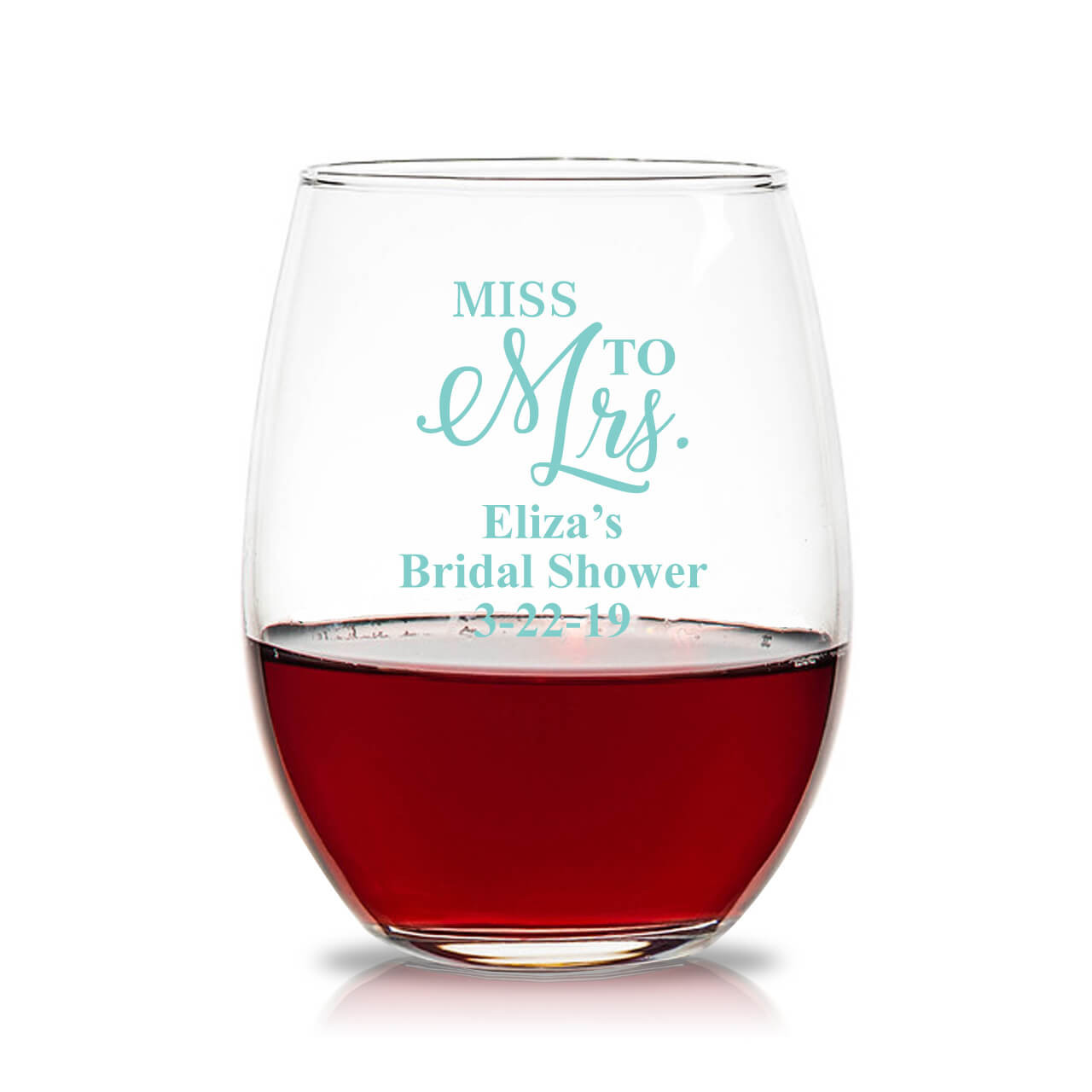 e7fdb47fb7e Miss To Mrs Personalized 15 oz Stemless Wine Glass - Favors & Flowers