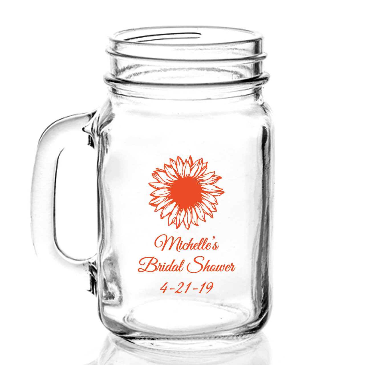 personalized sunflower 16oz mason jar mug details 13561.1524949859