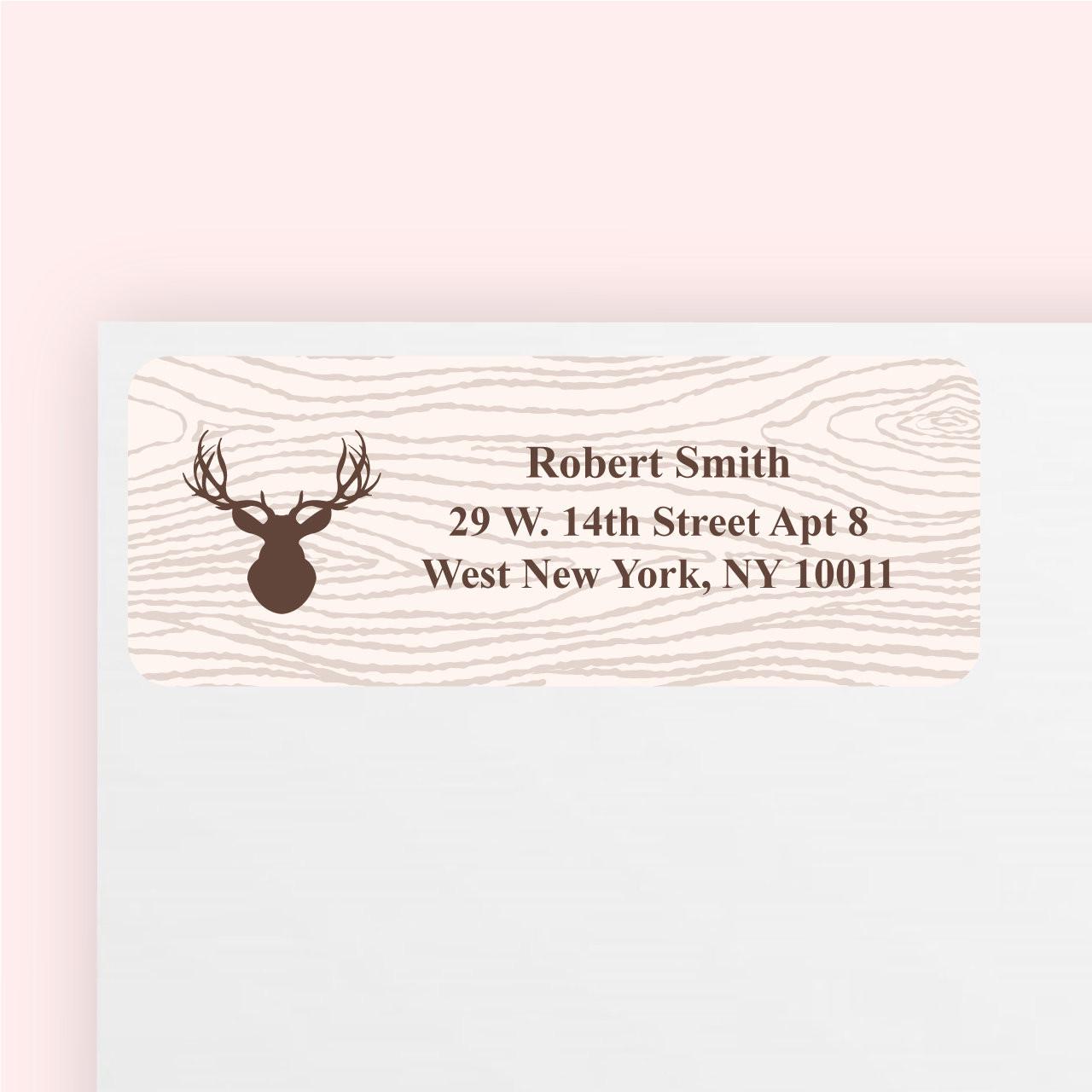 Rustic wood grain personalized return address stickers set of 100
