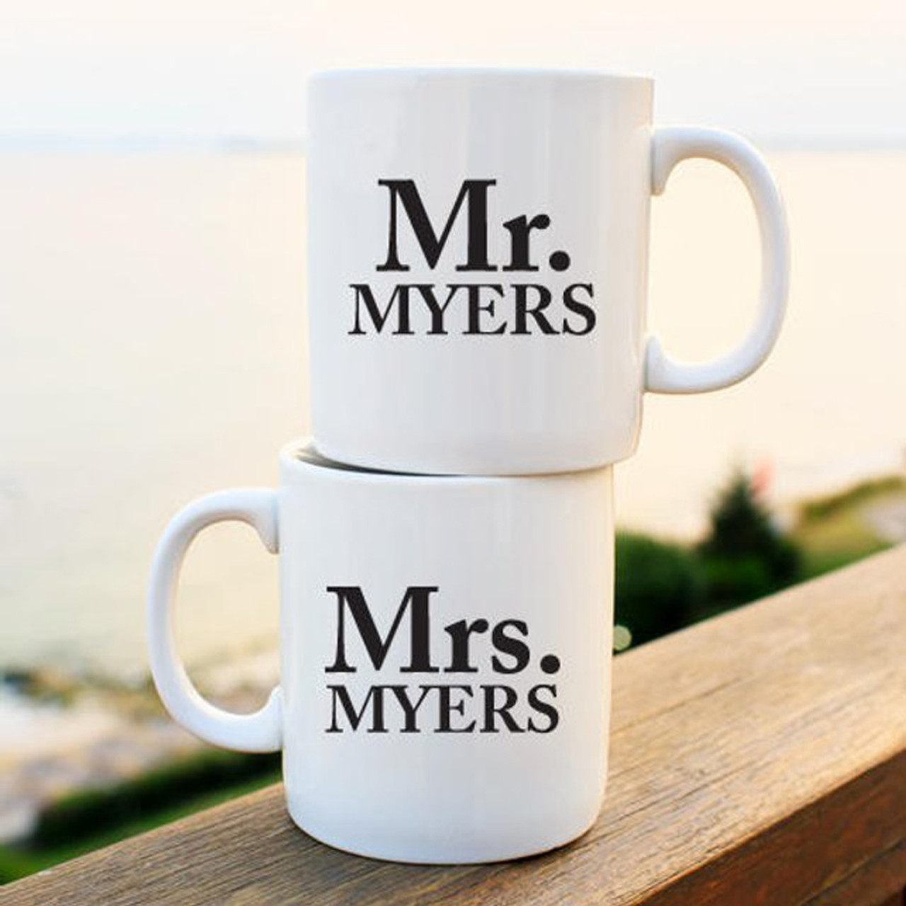 Mr And Mrs Personalized White Coffee Mug Set Of 2 Favors Flowers