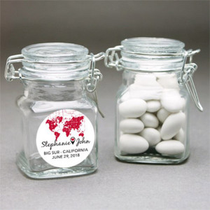 Around the World Personalized Square Glass Jar - Favors