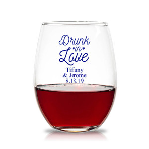 Fall Wedding Favors + Set of 12 Personalized 9oz Falling in Love Stemless Wine Glasses Personalized Glassware + Stemless Wine Glass