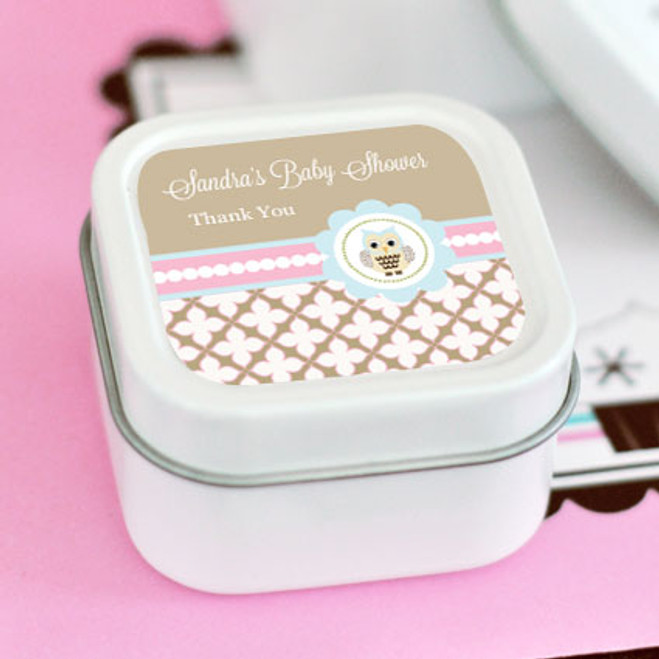 Woodland Owl Personalized Square Candle Tins Favors Flowers