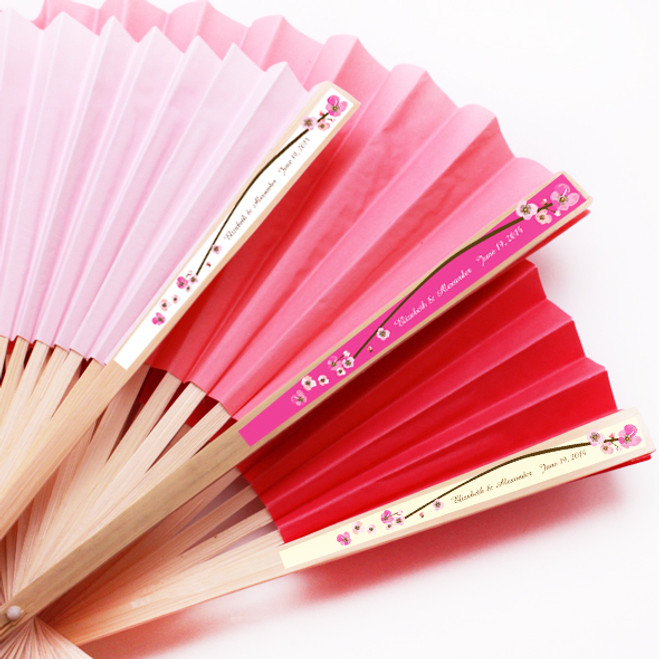 Cherry Blossom Personalized Paper Hand Fans Set Of 10