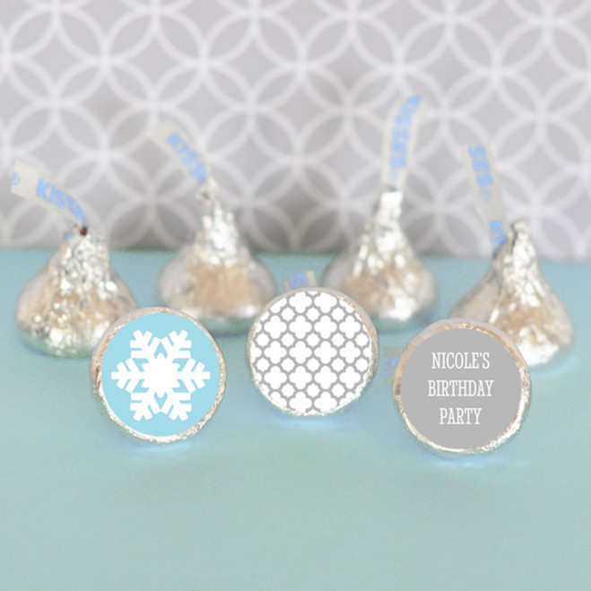108 TEAL RIBBON Party Favors Stickers Labels for Hershey Kiss