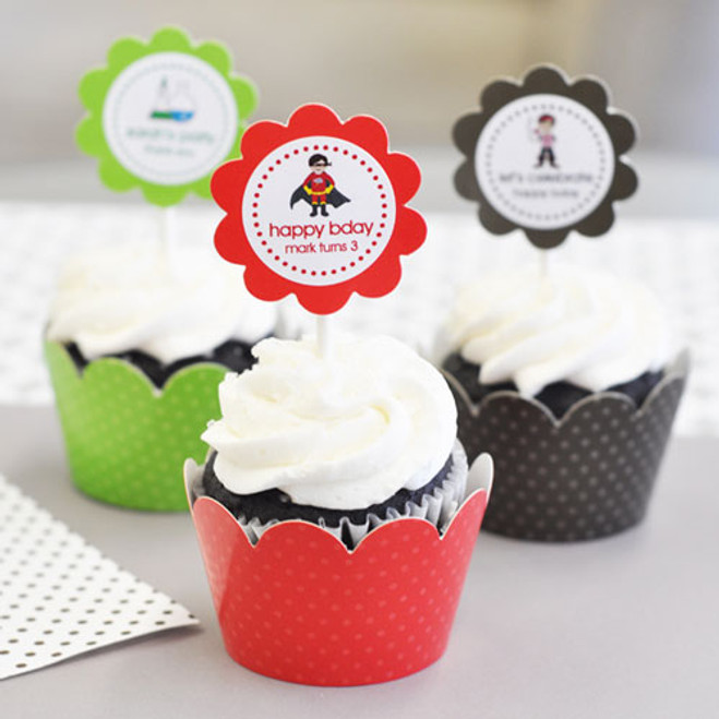 MOD Kids Birthday Cupcake Wrappers Cupcake Toppers