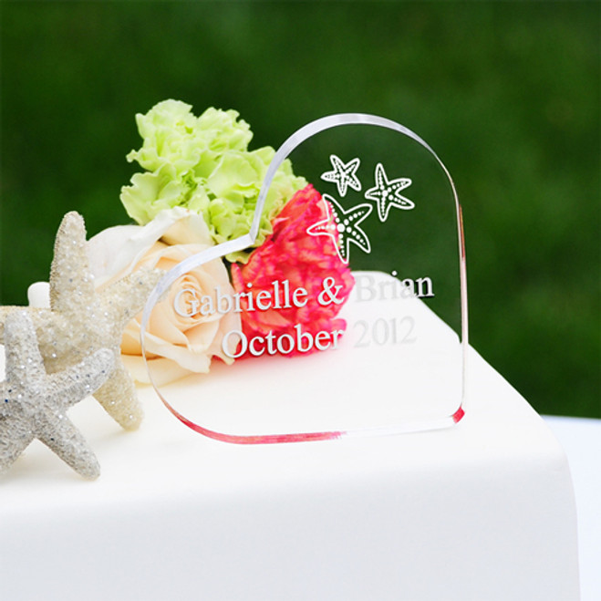 Beach Wedding Acrylic Heart Cake Topper Favors Flowers