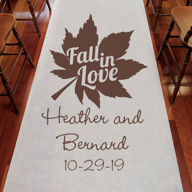 Fall In Love Rustic Theme Personalized Wedding Aisle Runners