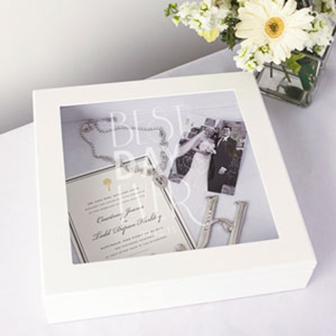 Personalized Best Day Ever Wedding Wishes Keepsake Shadow Box