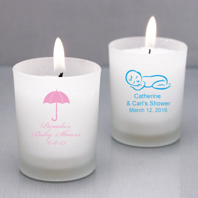 Personalized Baby Candle Holders Favors Flowers