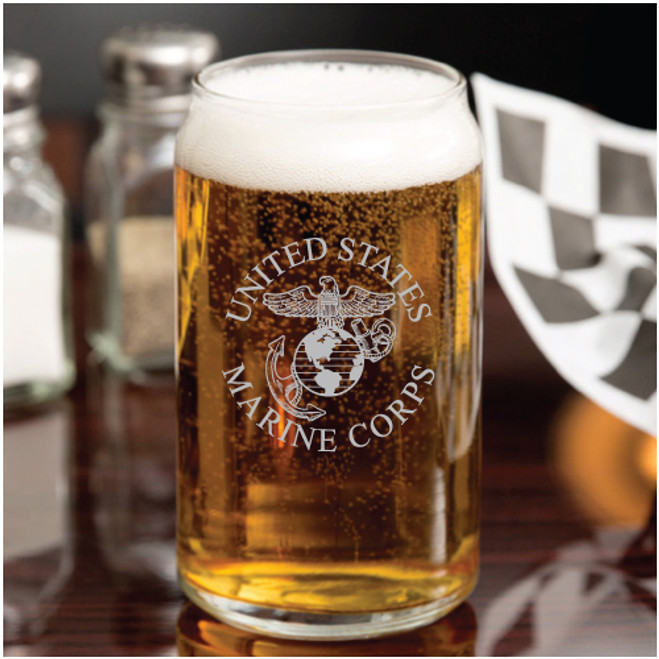United States Marine Corps 16 oz  Craft Beer Can Glass