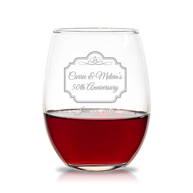 Personalized 15 Oz Stemless Wine Glasses Favors Flowers