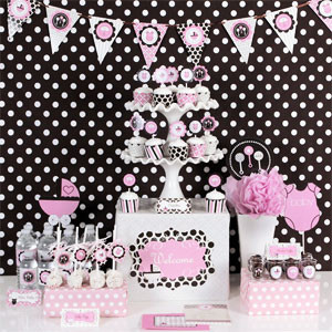 Pink Baby Shower Party Kit Favors Flowers
