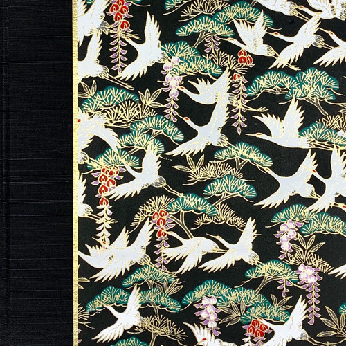 Journal or Notebook in white cranes on black