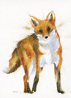 Fox painting by Kay Johns - hand embellished artwork
