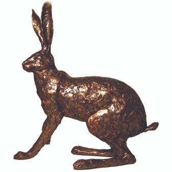 A large cold cast bronze hare by Paul Jenkins