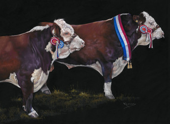 Hereford cattle painting by Kay Johns