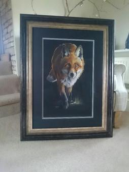 British wildlife artist, Kay Johns original, 'The Night Shift' framed